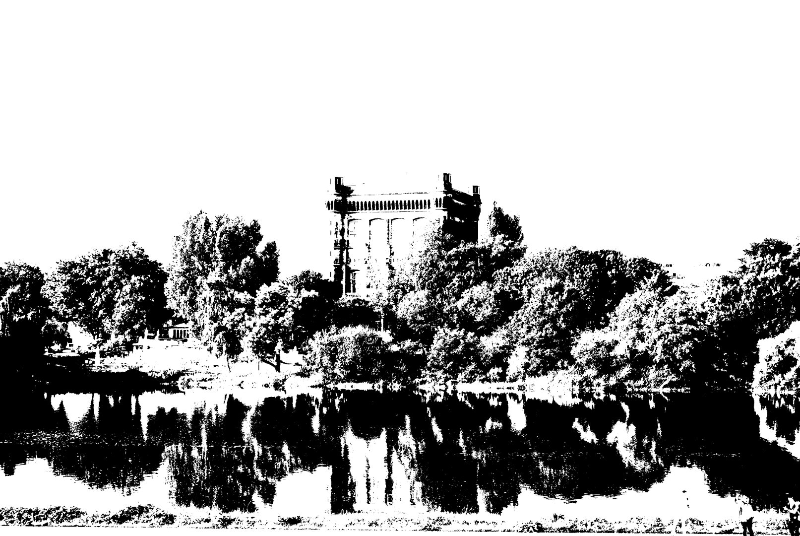 """Der Wasserturm auf dem Werder ist der älteste Wasserturm der Stadt Bremen. Das 47 Meter hohe Gebäude wird im Volksmund auch """"Umgedrehte Kommode"""" genannt."""